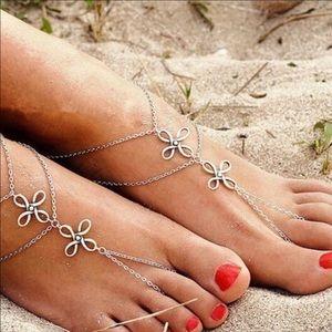 Jewelry - NEW Anklets Set Silver Fancy Knot Bracelet Jewelry